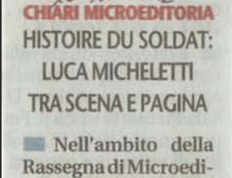 Histoire du Soldat: Luca Micheletti tra scena e pagina